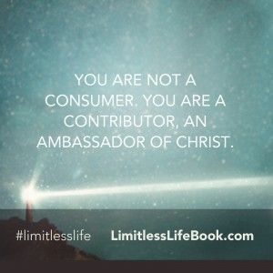 <p>You are not a consumer. You are a contributor, an ambassador of Christ.</p>