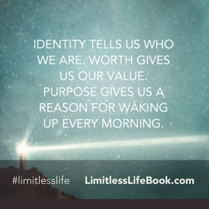<p>Identity tells us who we are. Worth gives us our value. Purpose gives us a reason for waking up every morning.</p>